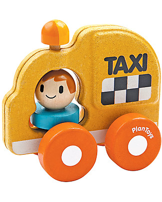 PlanToys Wooden Taxi, 16 cm - Eco-friendly fun! Wooden Toy Cars, Trains & Trucks