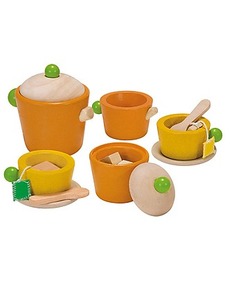 PlanToys Wooden Tea Set - Funny and Educational Toy Kitchens & Play Food