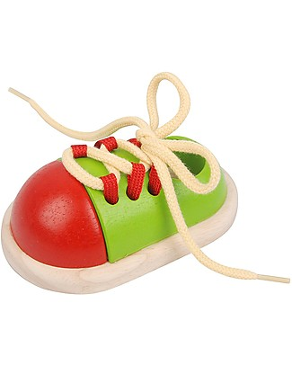 PlanToys Wooden Tie-Up Shoe - Teach to Tie the Laces Pretend Play