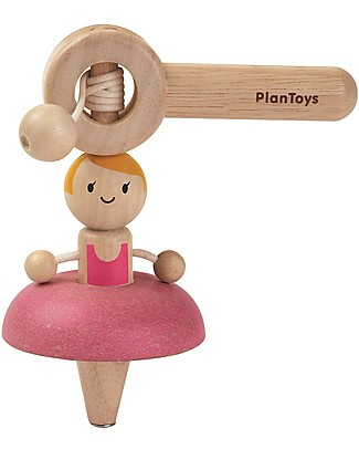 PlanToys Wooden Toy Ballet Top - Make the ballerina dance! Wooden Push & Pull Toys