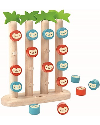 PlanToys Wooden Toy Monkeys in a Row - Classic four-in-a-row game with a forest theme Board Games