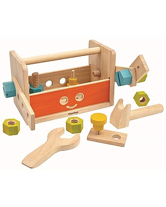 PlanToys Wooden Toy Robot Tool Box - Can transform into a robot! Wooden Toy Tools