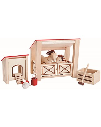 PlanToys Wooden Toy Stable - Beautiful and fun! Story Making Games