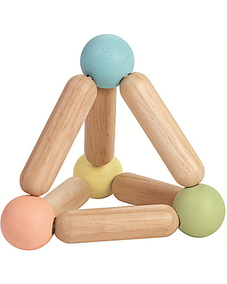 PlanToys Wooden Toy Triangle Clutching - Eco-friendly and fun!  Wooden Rattles