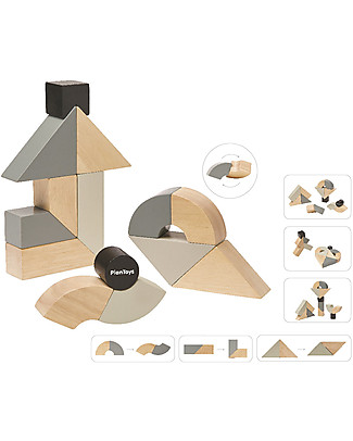 PlanToys Wooden Twisted Blocks Set - 14 pieces of Unusual Shapes Building Blocks