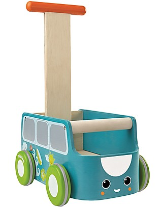 PlanToys Wooden Van Walker, Blue - Improve body balance and tidy up Wooden Push & Pull Toys