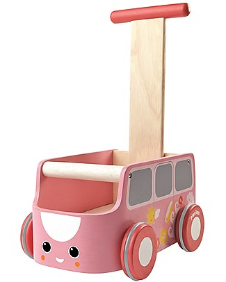 PlanToys Wooden Van Walker, Pink - Improve body balance and tidy up Wooden Push & Pull Toys