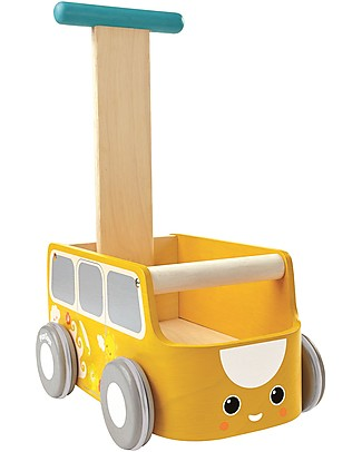 PlanToys Wooden Van Walker, Yellow - Improve body balance and tidy up Wooden Push & Pull Toys
