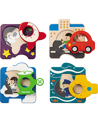 PlanToys Wooden Vehicle Puzzle, 4 pieces - Eco-friendly fun! Puzzles