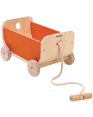 PlanToys Wooden Wagon, Orange - Play and tidy up Wooden Toy Cars, Trains & Trucks