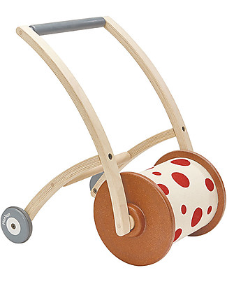 PlanToys Wooden Walker and Rattle, Roll n Walk Wooden Push & Pull Toys