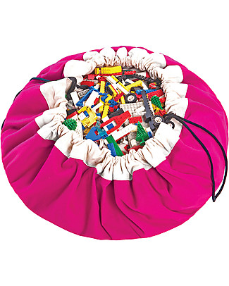 Play&Go Portable 2 in 1 Storage Bag & Playmat – Fuchsia – 100% Pure Cotton Toy Storage Boxes