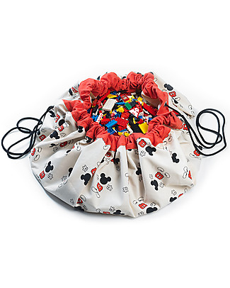 Play&Go Portable 2 in 1 Storage Bag & Playmat in cotton - Disney Collection, Red Mickey Mouse Toy Storage Boxes