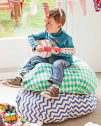 Play&Go Portable 2 in 1 Storage Bag & Playmat in cotton - Green Diamond Toy Storage Boxes