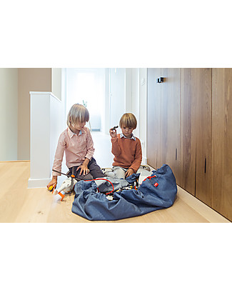 Play&Go Portable 2 in 1 Storage Bag & Playmat in cotton - Jeans Toy Storage Boxes