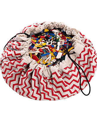 Play&Go Portable 2 in 1 Storage Bag & Playmat in cotton - Red Zigzag Toy Storage Boxes