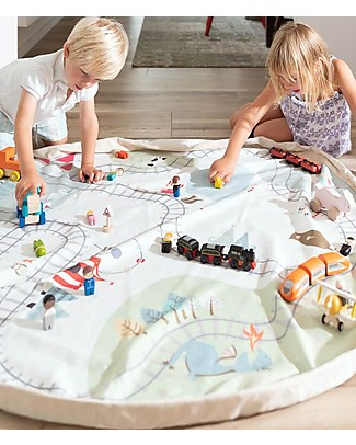 Play&Go Portable 2 in 1 Storage Bag & Playmat in cotton - Trainmap and Bears Playmats