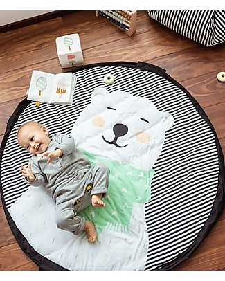 Play&Go Portable 3 in 1 Storage Bag, Diaper Bag & Playmat in Soft Cotton - Polar Bear Playmats