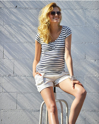 Pomkin Lise Maternity & Nursing Top - Blue & White Stripes - Capped Sleeves & V Neck! T-Shirts And Vests