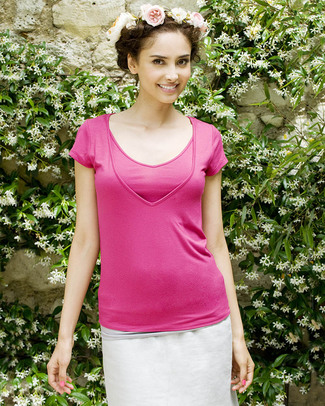Pomkin Lise Maternity & Nursing Top - Fuchsia - Capped Sleeves & V Neck! T-Shirts And Vests