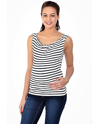 Pomkin Marie- Maternity & Nursing Top - Blue Stripes  T-Shirts And Vests