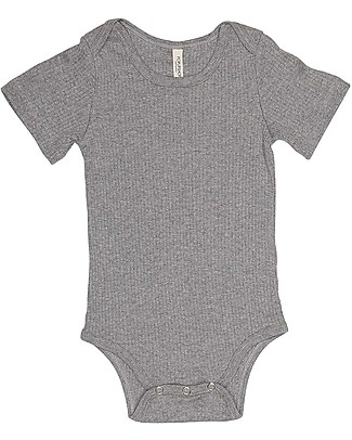 Popupshop Baby Rib Short Sleeved Body, Grey Melange - 100% Organic cotton Short Sleeves Bodies