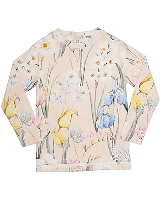 Popupshop Basic Roll Up Long Sleeves Tee, Flower - 100% Organic cotton Long Sleeves Tops