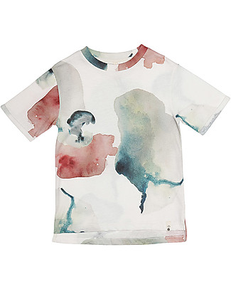 Popupshop Basic Roll Up Short Sleeves Tee, Water Flower - 100% Organic cotton T-Shirts And Vests
