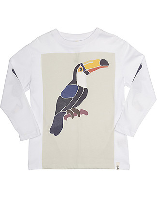 Popupshop Loose Long Sleeves Tee, White With Toucan - 100% Organic cotton Long Sleeves Tops
