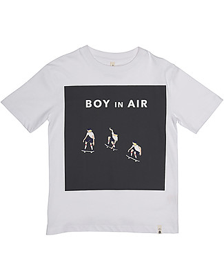 Popupshop Loose Short Sleeves Tee, Optic White With Skater - 100% Organic cotton T-Shirts And Vests
