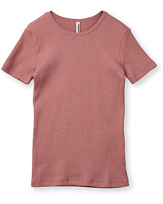 Popupshop Rib Short Sleeves Tee, Rose - 100% Organic cotton T-Shirts And Vests