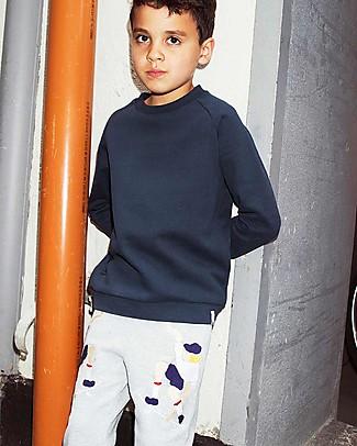 Popupshop Sweat Pants, Skater 2 EMB On Grey Melange - Organic cotton Trousers