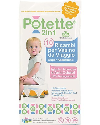 Potette 2in1 Liners for Potette Plus 2in1, Superabsorbent and Leak Proof - 10 Pieces Potties