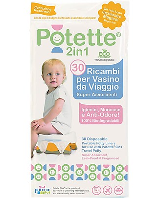 Potette 2in1 Liners for Potette Plus 2in1, Superabsorbent and Leak Proof - 30 Pieces Potties