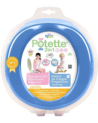 Potette 2in1 Potette 2in1, Trainer Seat and Travel Potty - Blue - Includes 3 Liners Potties