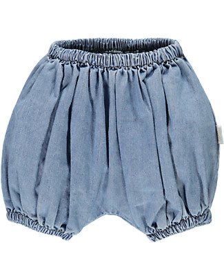 Poudre Organic Baby Bloomer, Denim - 100% organic cotton Shorts