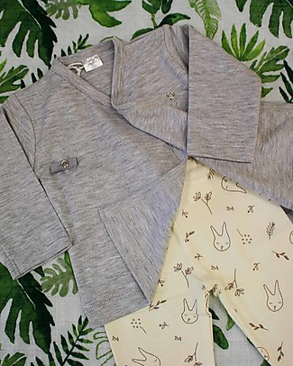 Poudre Organic Baby Leggings, Milk with Bunnies Print - 100% organic cotton Leggings
