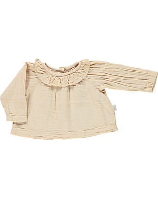 Poudre Organic Blouse with Rouche Neck, Amber Light - 100% organic cotton Shirts And Blouses