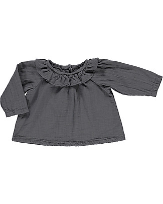 Poudre Organic Blouse with Rouche Neck, Iron Gate – 100% organic cotton Shirts And Blouses