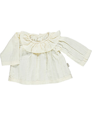Poudre Organic Blouse with Rouche Neck, Milk – 100% organic cotton Shirts And Blouses