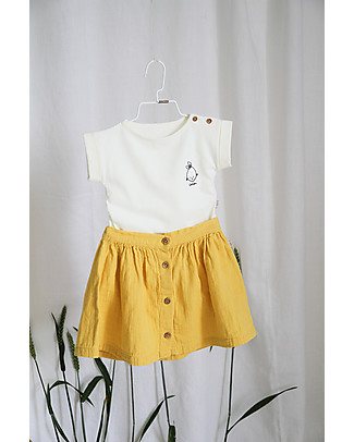 Poudre Organic Buttoned Baby Skirt, Cream Gold - 100% organic cotton Skirts
