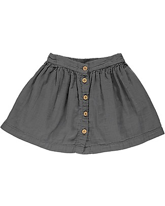 Poudre Organic Buttoned Girl Skirt, Iron Gate - 100% organic cotton Skirts