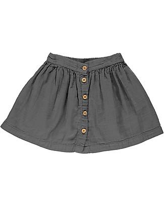 Poudre Organic Buttoned Girl Skirt, Iron Gate - 100% organic cotton Skirts