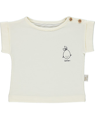 Poudre Organic Embroidered T-shirt, Milk with Bergamot - 100% organic cotton T-Shirts And Vests