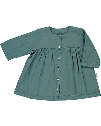 Poudre Organic Girl's 3/4 Sleeves Dress, Teal Blue – 100% organic cotton Dresses