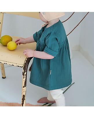 Poudre Organic Girl's 3/4 Sleeves Dress, Teal Blue - 100% organic cotton Dresses