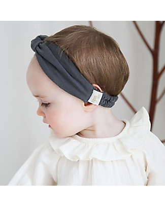 Poudre Organic Girl's Headband, Iron Gate – Organic Cotton Hair Accessories