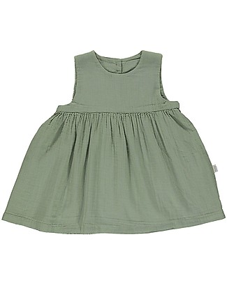 Poudre Organic Girl's Sleeveless Dress Matcha, Oil Green - 100% organic cotton Dresses