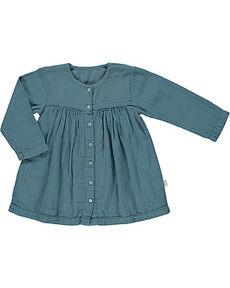 Poudre Organic Girl Dress Long Sleeves with Bottons, Hydro - 100% organic cotton Dresses