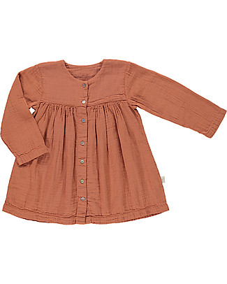 Poudre Organic Girl Dress Long Sleeves with Bottons, Sierra - 100% organic cotton Dresses